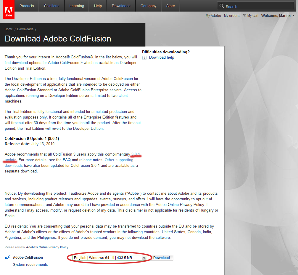 Adobe ColdFusion Enterprise Edition 9.0.1 Linux